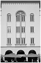 Art Deco hotel facade, Miami Beach. Florida, USA ( black and white)