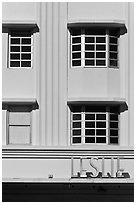 Detail of boxy Art Deco facade, Miami Beach. Florida, USA ( black and white)
