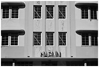 Detail of Art Deco Facade, Miami Beach. Florida, USA (black and white)