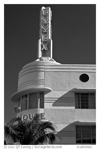 Deco-style spire on top of Essex hotel, Miami Beach. Florida, USA (black and white)
