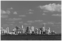 Distant Miami skyline. Florida, USA ( black and white)