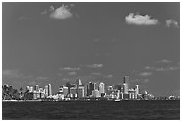Biscayne Bay and Miami skyline. Florida, USA ( black and white)