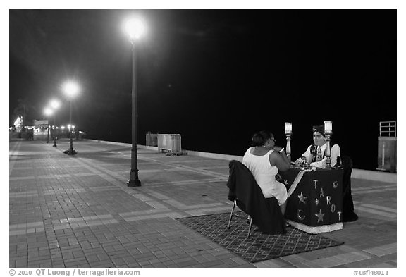 Fortune teller at night, Mallory Square. Key West, Florida, USA (black and white)