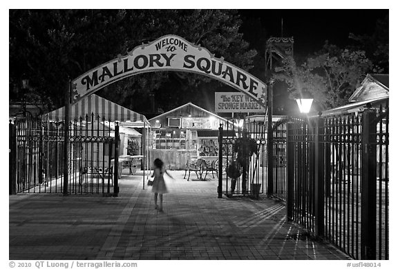 Mallory Square shops at night. Key West, Florida, USA (black and white)