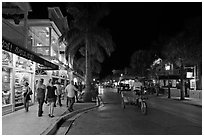 Street at night. Key West, Florida, USA ( black and white)