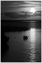 Sunrise over Atlantic shore, Sugarloaf Key. The Keys, Florida, USA (black and white)