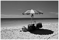Beach umbrella and turquoise water, Bahia Honda State Park. The Keys, Florida, USA (black and white)