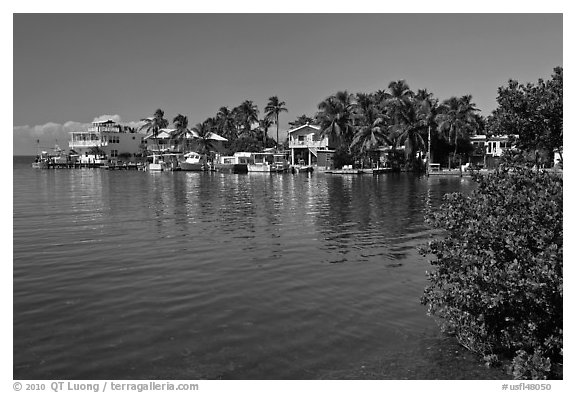 Conch cottages lining edge of Florida Bay, Conch Key. The Keys, Florida, USA (black and white)