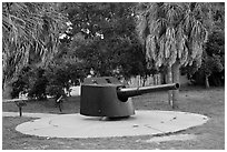 Artillery turret, Fort De Soto Park. Florida, USA ( black and white)