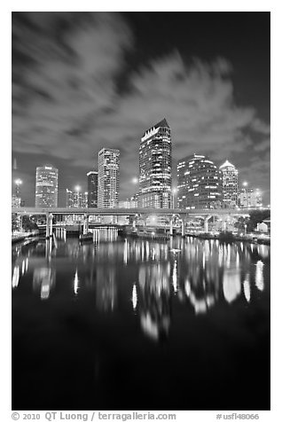 Downtown Tampa skyline at night, Tampa. Florida, USA (black and white)