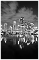 Downtown Tampa skyline at night, Tampa. Florida, USA ( black and white)