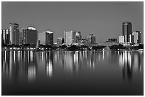 Orlando Skyline at night. Orlando, Florida, USA ( black and white)