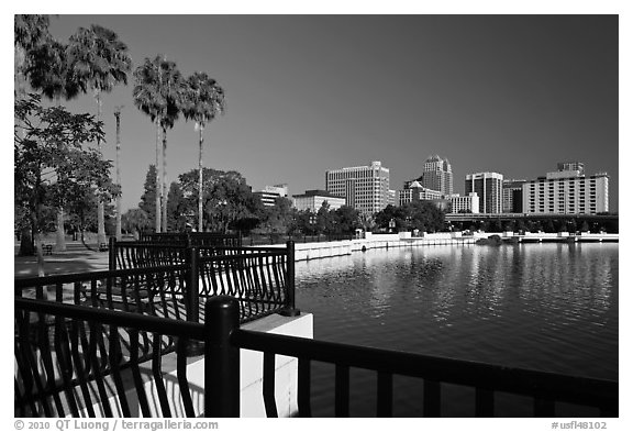 Lake Lucerne, palm trees, and downtown skyline. Orlando, Florida, USA (black and white)