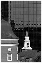 White steepled Church and glass building. Orlando, Florida, USA ( black and white)