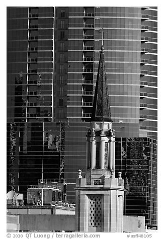 Church bell tower and glass building. Orlando, Florida, USA (black and white)