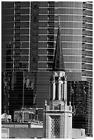 Church bell tower and glass building. Orlando, Florida, USA ( black and white)