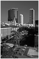 Modern and historic buildings in downtown. Orlando, Florida, USA (black and white)