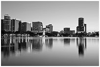 Downtown skyline at sunset, lake Eola. Orlando, Florida, USA ( black and white)