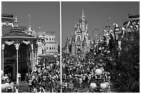Gateway to Fantasyland and Main Street, Magic Kingdom. Orlando, Florida, USA ( black and white)