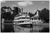 Riverboat, Magic Kingdom, Walt Disney World. Orlando, Florida, USA (black and white)