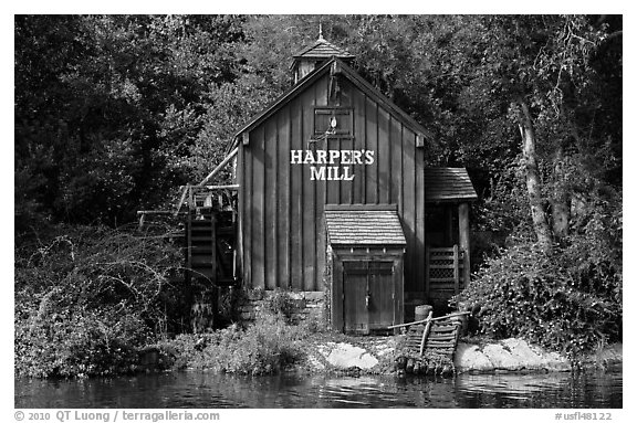 Harpers Mill, Magic Kingdom, Walt Disney World. Orlando, Florida, USA (black and white)