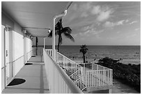 Beachfront resort and ocean, Sanibel Island. Florida, USA (black and white)