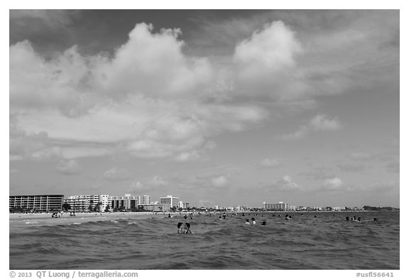 Sarasota skyline seen from Siesta beach waters. Florida, USA (black and white)