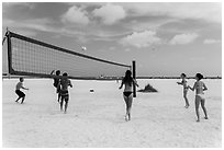 Volleyball at Siesta Beach, Sarasota. Florida, USA (black and white)