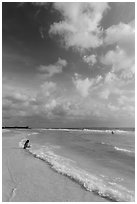 Woman and wave, Fort De Soto beach. Florida, USA ( black and white)
