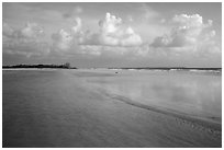 Beach and shallow flats, Fort De Soto beach. Florida, USA ( black and white)