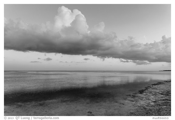 Thunderstorm clouds at sunset, Little Duck Key. The Keys, Florida, USA (black and white)