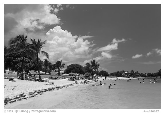 Sombrero Beach in summer, Marathon Key. The Keys, Florida, USA (black and white)