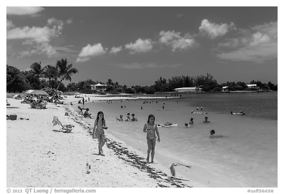 Families on Sombrero Beach, Marathon Key. The Keys, Florida, USA (black and white)