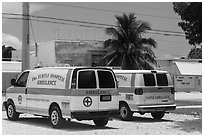 Turtle Hospital ambulances, Marathon Key. The Keys, Florida, USA (black and white)