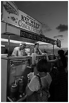 Key West conch fritters food stand at sunset. Key West, Florida, USA ( black and white)