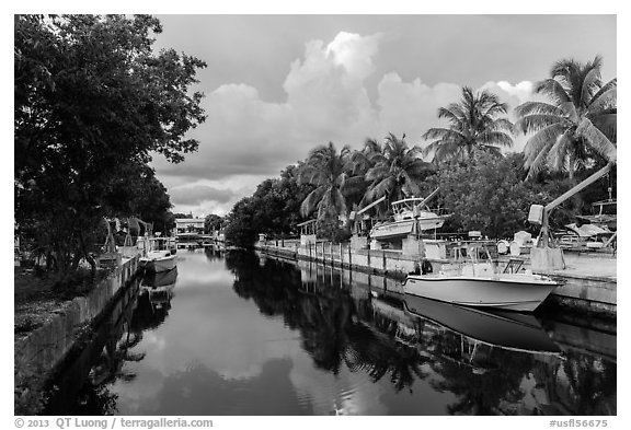 Canal, Big Pine Key. The Keys, Florida, USA (black and white)