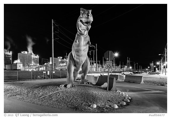 Dinosaur at night, Turkey Point Nuclear power plant. Florida, USA (black and white)
