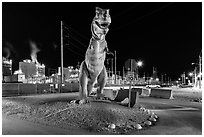 Dinosaur at night, Turkey Point Nuclear power plant. Florida, USA ( black and white)