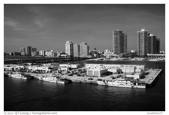 Coast guard station and Miami Beach. Florida, USA (black and white)