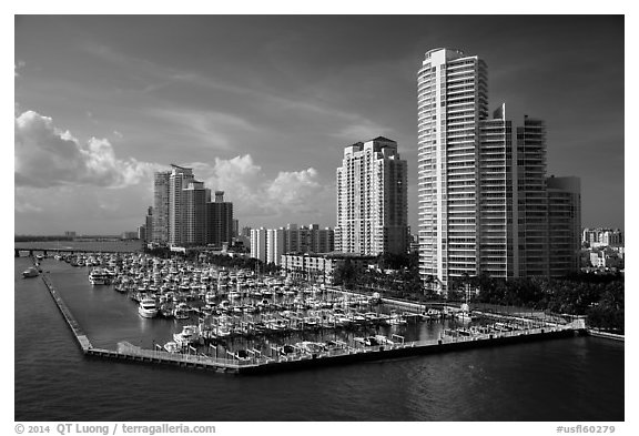 Miami Beach marina and high-rises. Florida, USA (black and white)