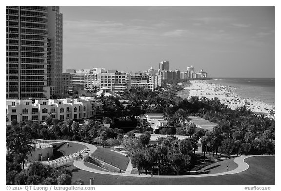 Miami Beach south end and beach. Florida, USA (black and white)