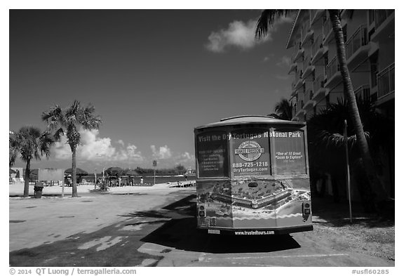 Truck with ad for Dry Tortugas tour. Key West, Florida, USA (black and white)