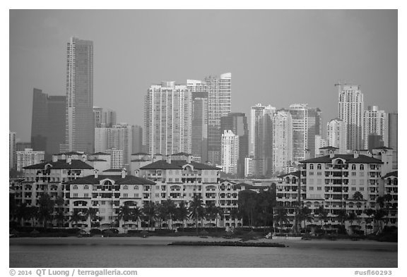 Waterfront and high-rises at sunrise. Florida, USA (black and white)