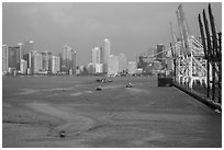 Miami harbor and skyline at sunrise. Florida, USA ( black and white)