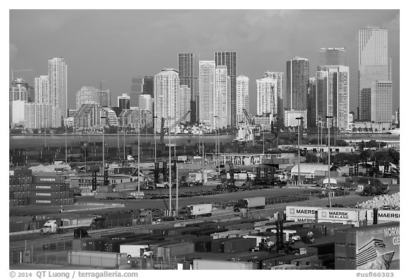 Freight harbor and skyline. Florida, USA (black and white)