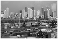 Freight harbor and skyline. Florida, USA ( black and white)