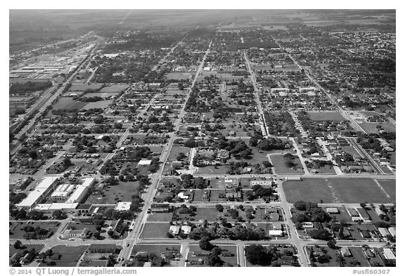 Aerial view of Homestead. Florida, USA (black and white)