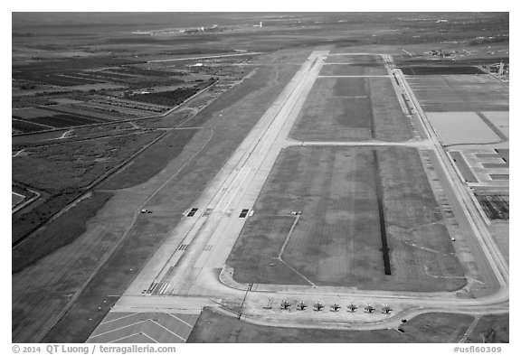 Aerial view of Homestead air force airport with fighter jets parked. Florida, USA (black and white)