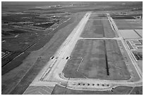 Aerial view of Homestead air force airport with fighter jets parked. Florida, USA ( black and white)