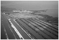 Aerial view of Turkey Point Nuclear Generating Station. Florida, USA ( black and white)